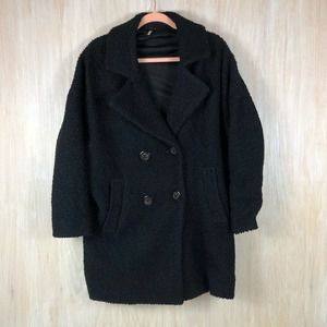 Free People Black Sherpa Double Breasted Jacket